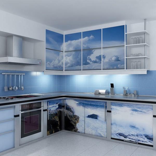 Кухонный гарнитур, отреставрированный с помощью самоклеющейся пленки
