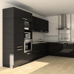 Угловая кухня с встроенной техникой