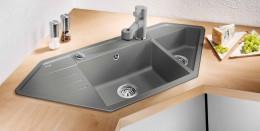 Угловая мойка для кухни:  особенности, размеры, дизайн