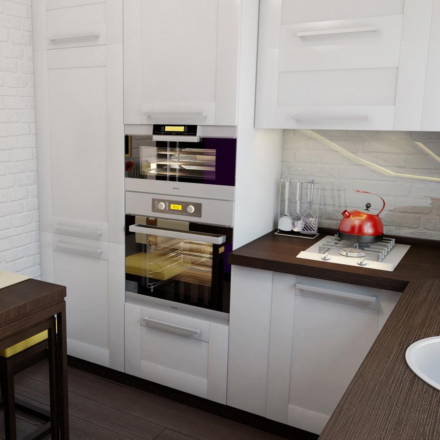 Дизайн маленькой кухни с встроенной техникой кухни