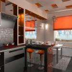 Дизайн кухни с барными стульями