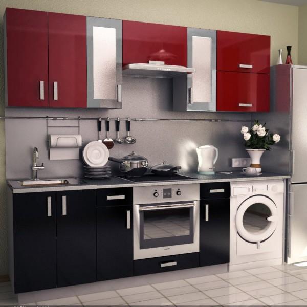 Модульная кухня в красно-черных тонах