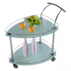 Стеклянные сервировочный столик на колесиках
