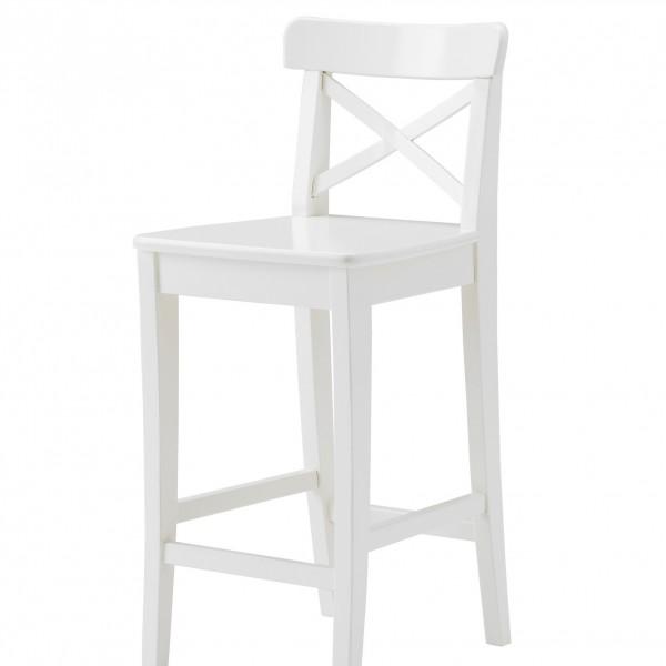 белый деревянный барный стул