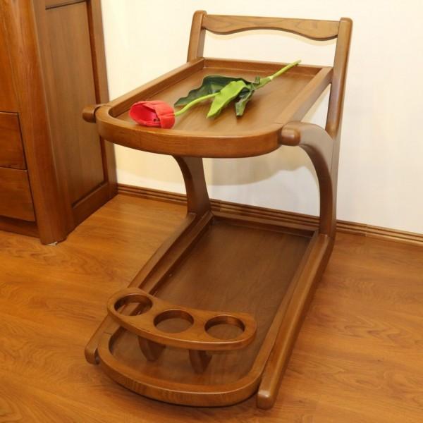 Сервировочный столик на колесах из дерева