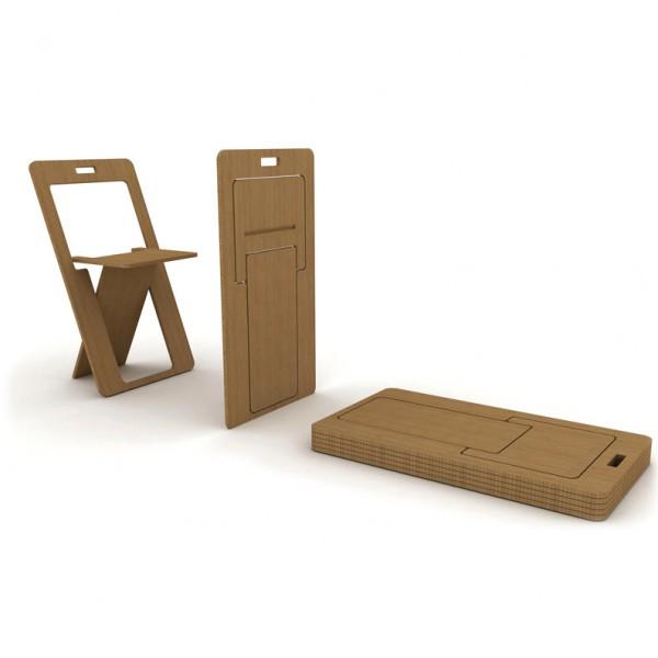 компактный деревянный складной стул