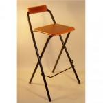Металлический складной барный стул с деревянным сиденьем