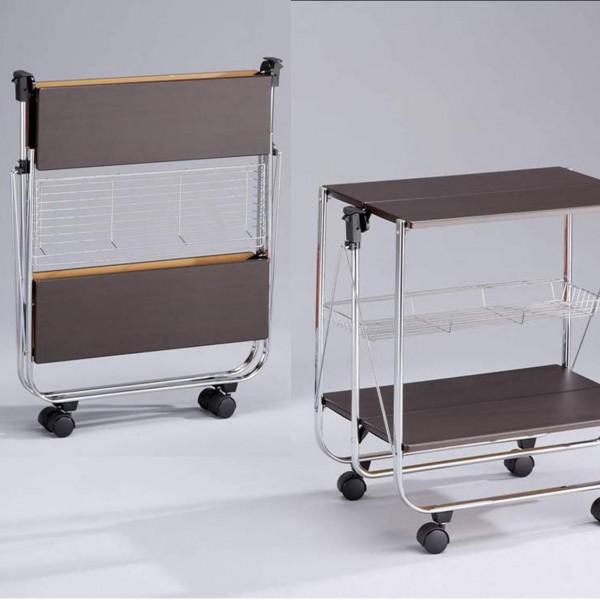 Сервировочный столик на колесах складной  деревянный