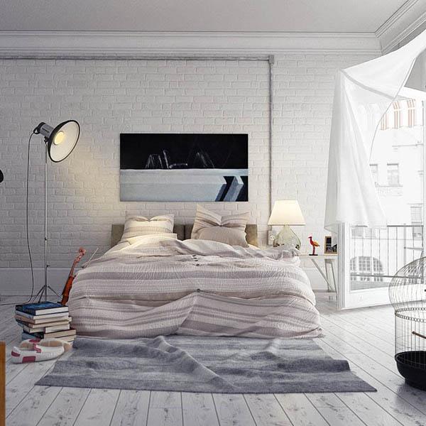 Спальня лофт в белом