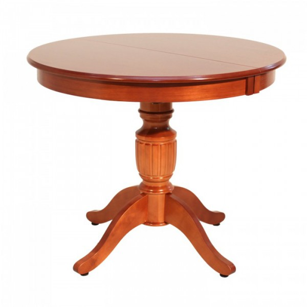 Круглый деревянный стол с одной ножкой