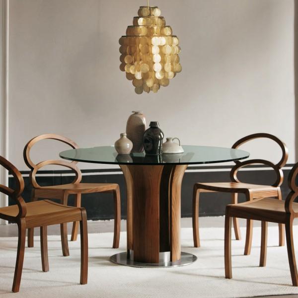 круглый стол дерево и стекло