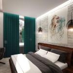 Интересное дизайнерское решение для спальни Лофт