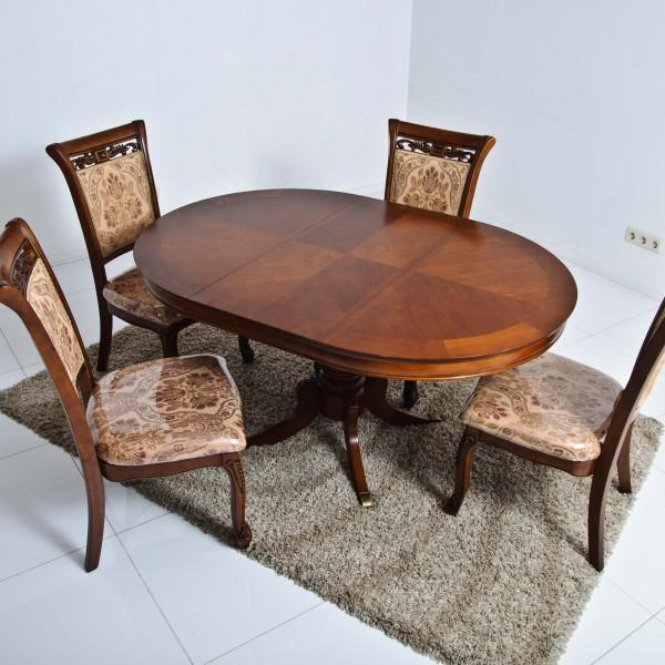 овальный раздвижной деревянный стол