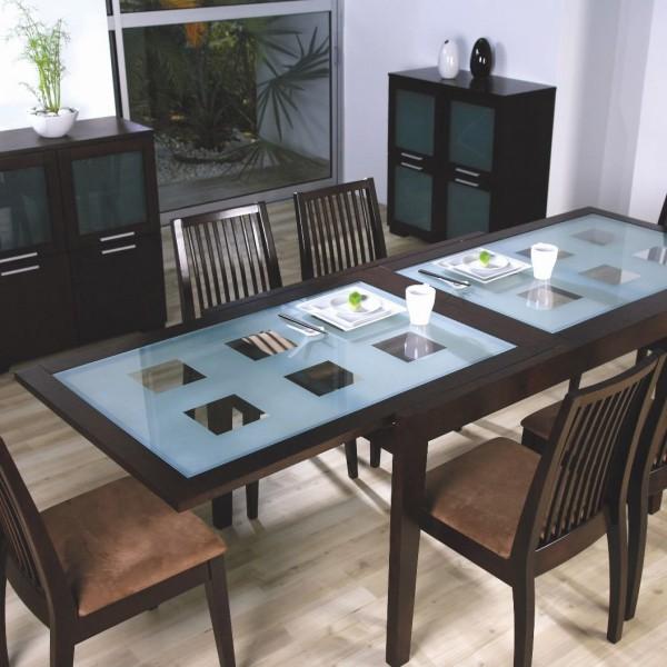 Деревянный кухонный стол со стеклом