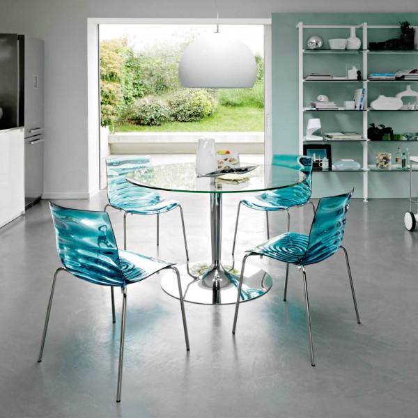 Круглый обеденный стол из стекла
