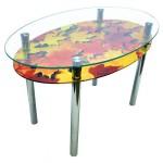 Овальный стеклянный стол с подстольем
