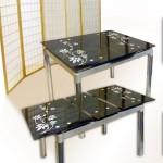 Стеклянный раскладной стол с рисунком