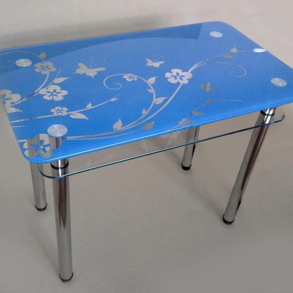 Стеклянный стол с рисунком