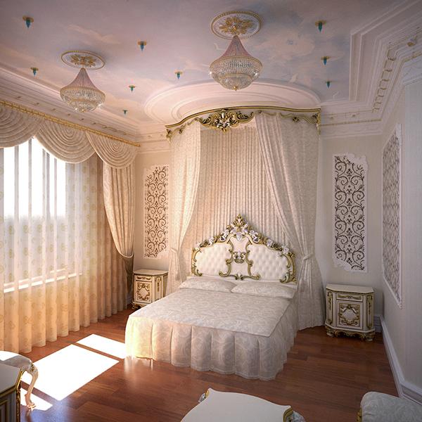 Белая спальня в стиле баррокко