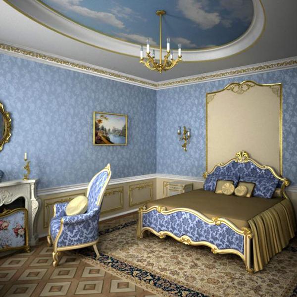 Голубая спальня в стиле барокко
