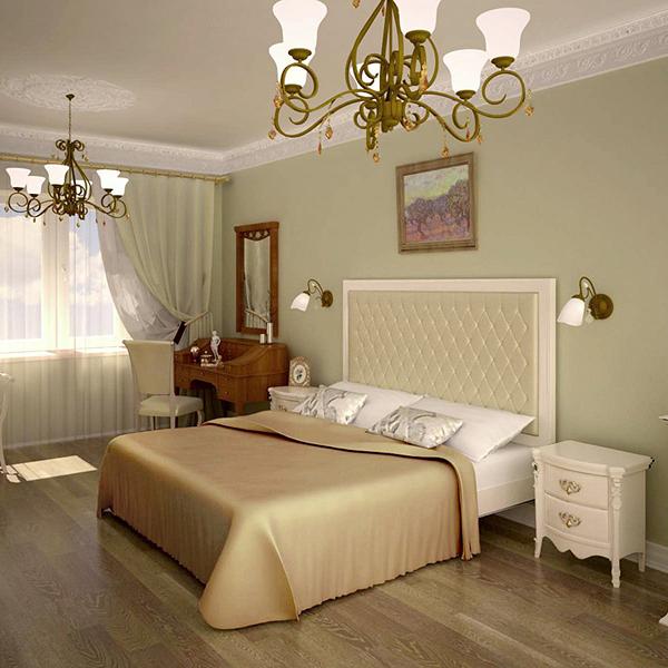 Просторная спальня в современном классическом дизайне