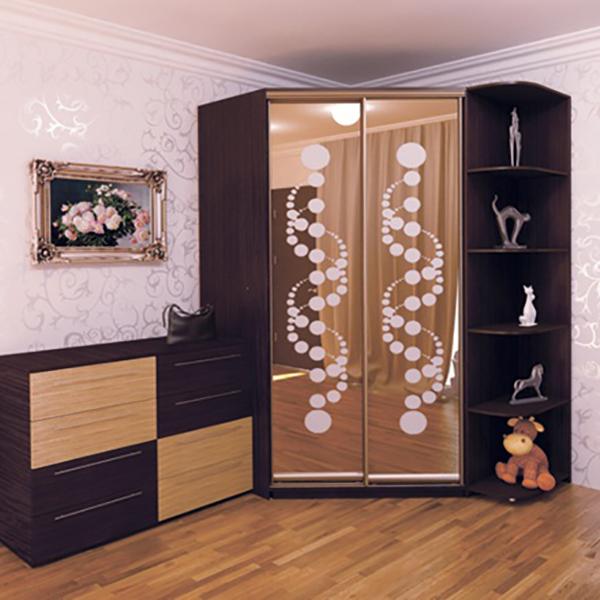 Дизайн углового шкафа купе для спальни фото