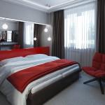 Яркие тона в интерьере спальни