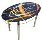 Обеденный стеклянный стол с рисунком