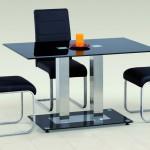 Стеклянный стол с двумя хромированными ножками