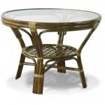 Стеклянный стол с ножками из бамбука