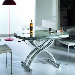 Стеклянный стол трансформер круглый
