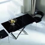 Стеклянный стол-трансформер со вставкой