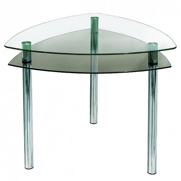 Стеклянный треугольный стол