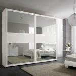 Белый зеркальный шкаф с рисунком