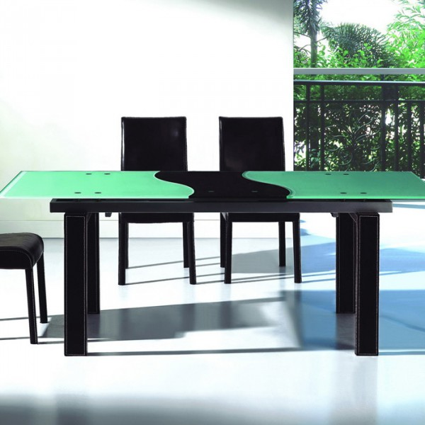 стол трансформер из дерева и стекла
