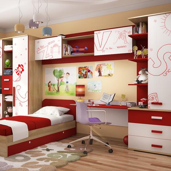 Детская комната в красно-белом цвете