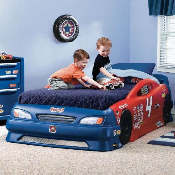 кровать машинка сине-красная