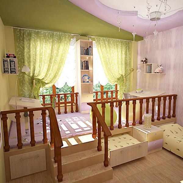 кровать подиум в детскую пример