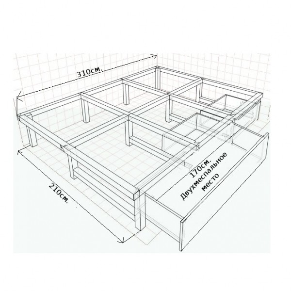 подиум с выдвижной кроватью чертеж