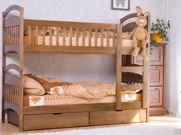 2-ярусная кровать для ребенка из дерева