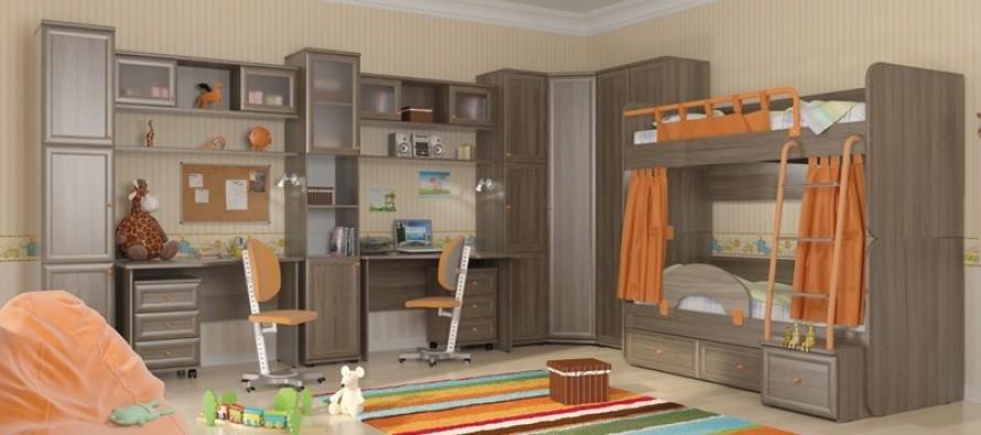 Интерьер детской комнаты с двухъярусной кроватью