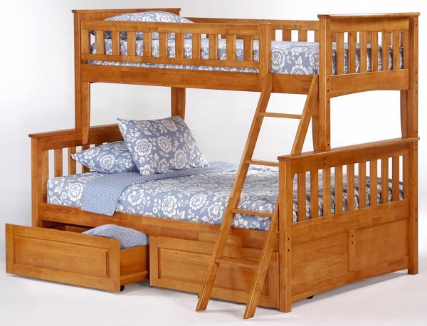 Двухэтажная двуспальная кровать с большим ложем внизу