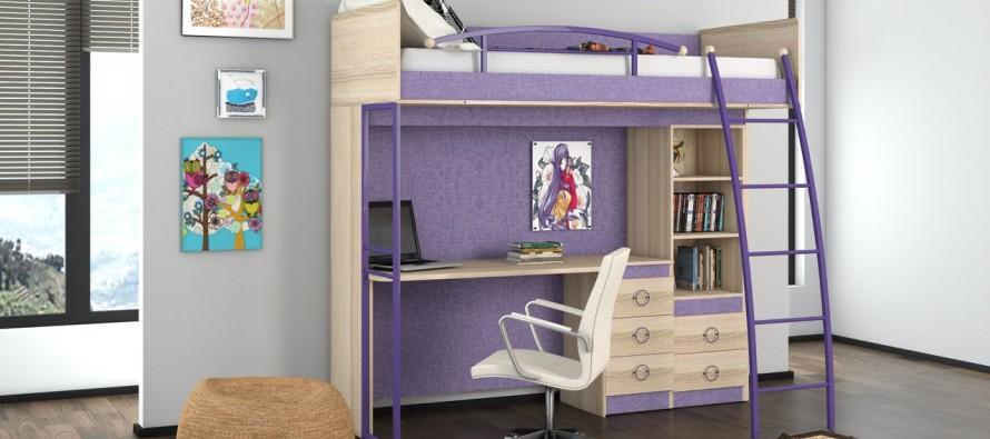 Кровати-чердаки со столом очень удобны