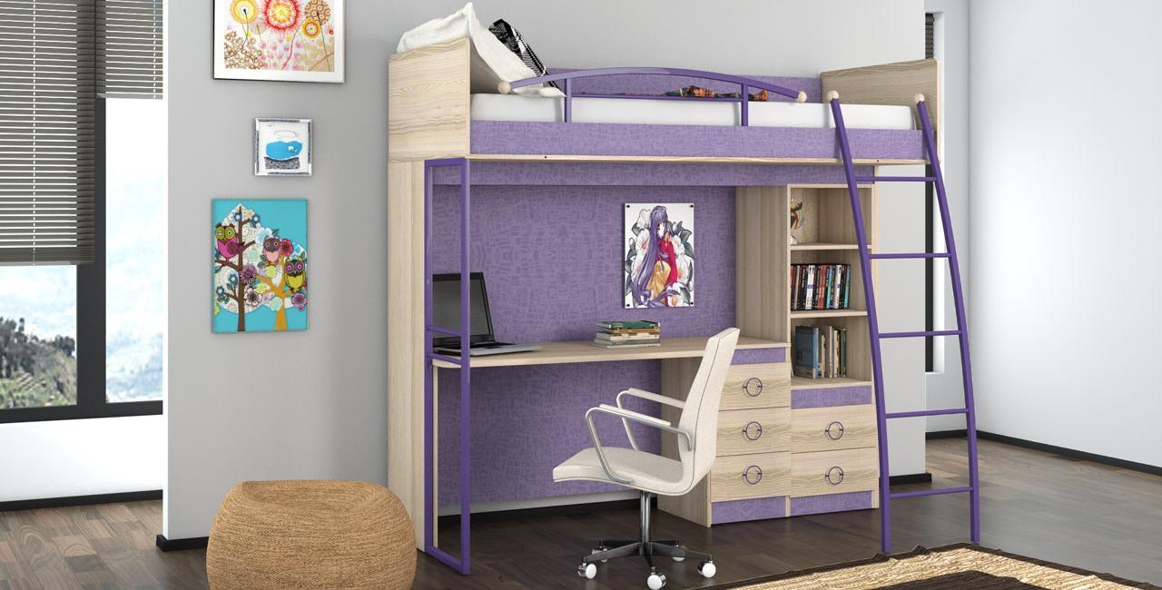 Кровать-чердак – спальня и рабочая зона на одной площади