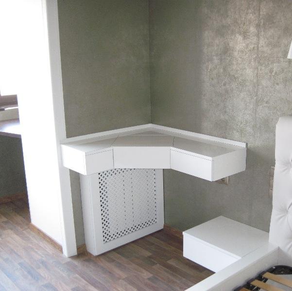 фото углового туалетного столика для спальни с зеркалом белый