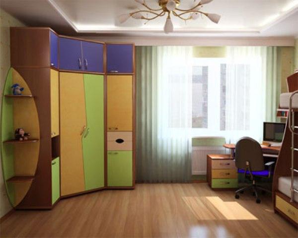 Угловой шкаф в сочных цветах