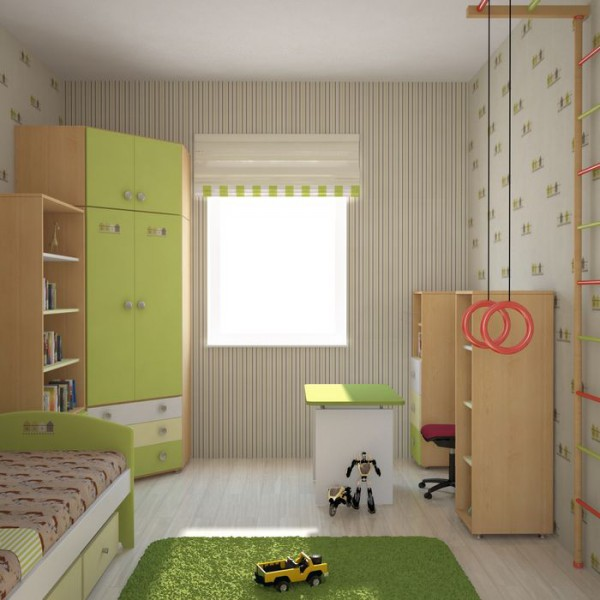 Угловой шкаф в детской в салатовом цвете