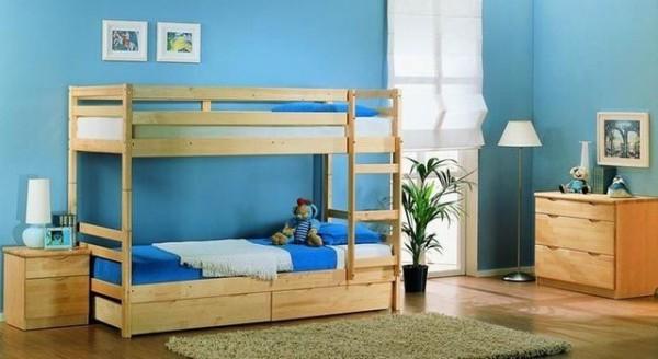 фото двухъярусной кровати из натурального дерева
