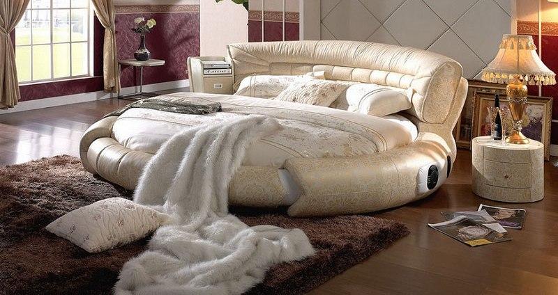Круглые кровати – смелое решение для интерьера современной спальни