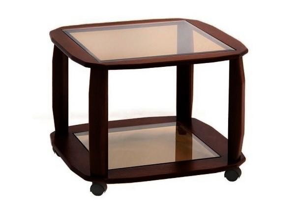 Фото маленького стеклянного журнального столика на колесиках